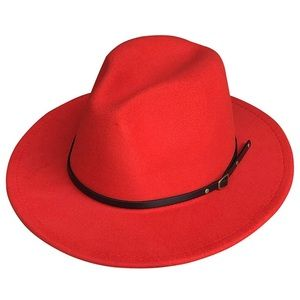 Red Belted Fedora Hat